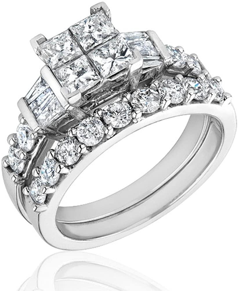 Ellaura Harmony Diamond Engagement and Wedding Ring 2ctw
