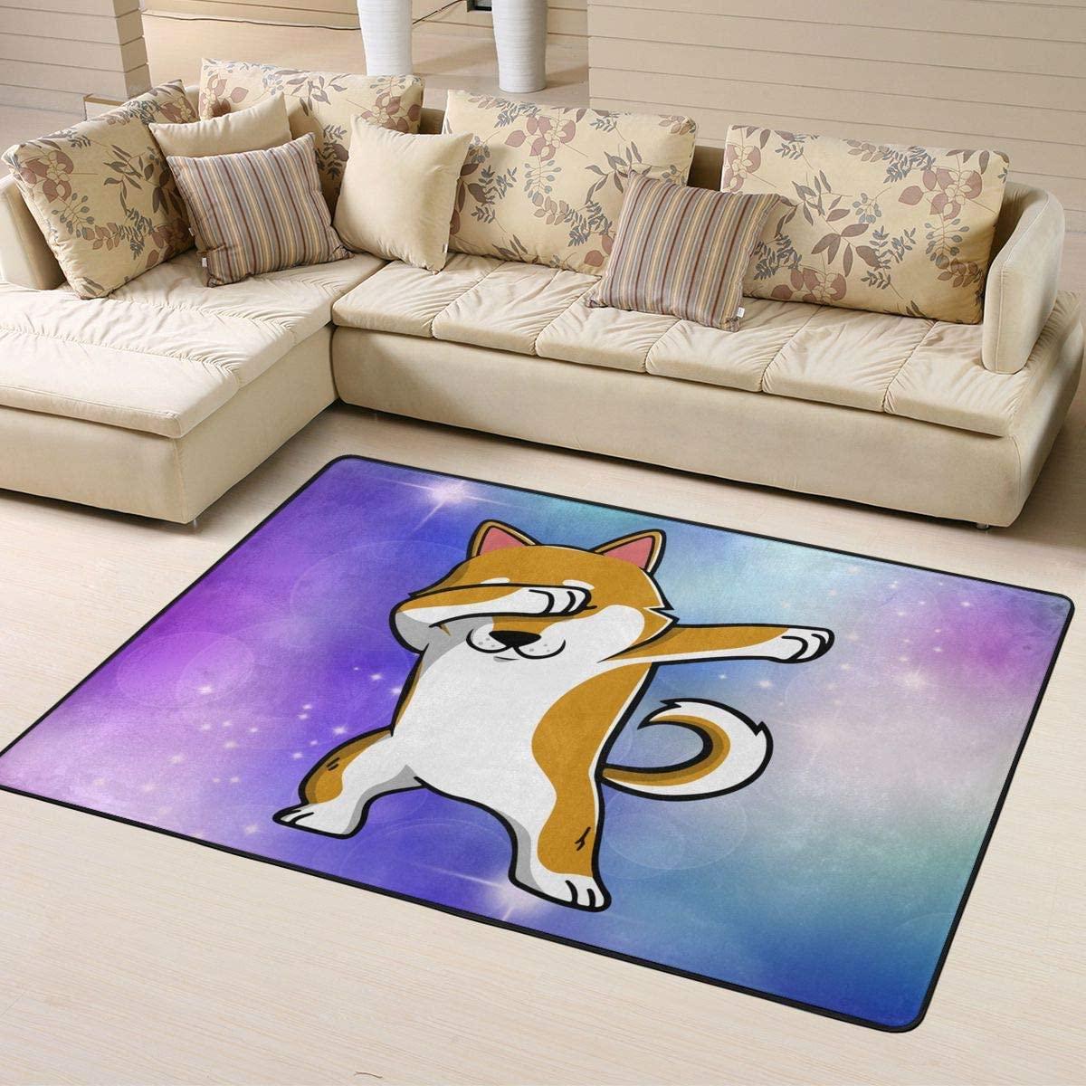 Swag Shiba Inu Area Rug Pad Solid Home Decorator Floor Mat Non-Slip Carpet 63 X 48 Inch