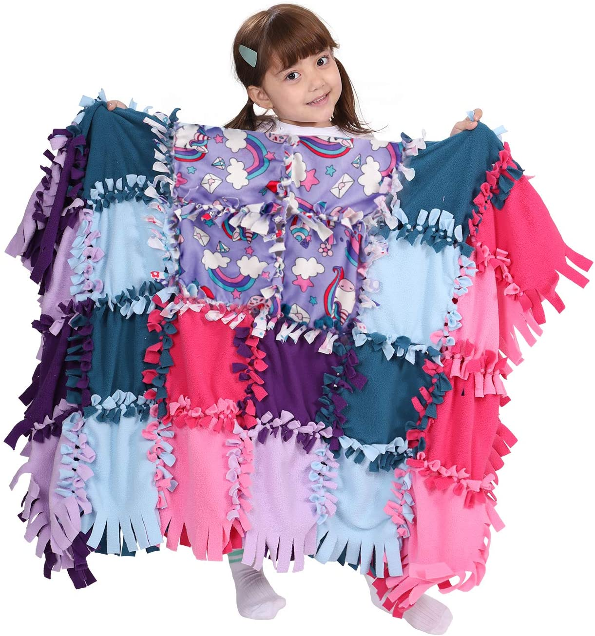Girls Gift Blankets Crafts Kit, Unicorn Fleece Toys For Kids Age 7 8 9 10 11 12, Ideas Christmas Birthday DIY Art Presents, Learning Educational Game, No Sew Tie Blankets Fleece Throw Making Quilt Kit