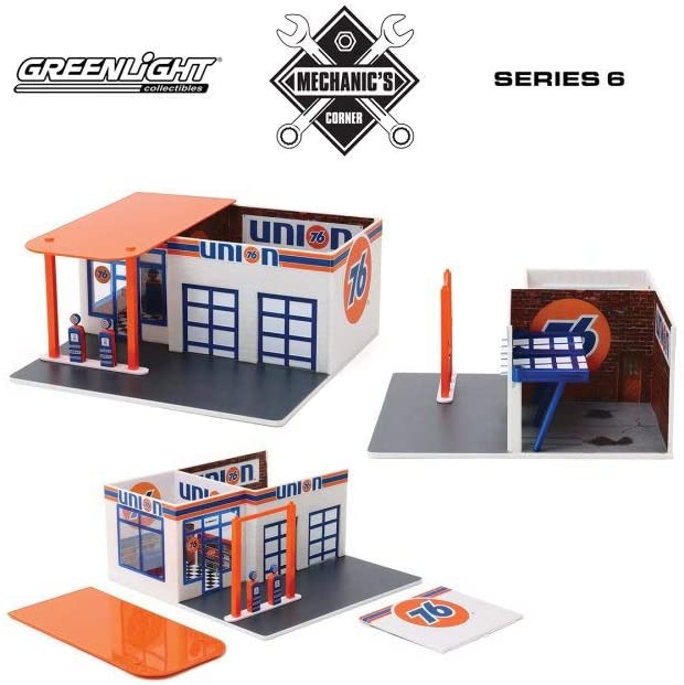 Vintage Service Gas Station Union 76, Orange and Blue - Greenlight 57062 - 1/64 Scale Diecast Model Toy Car