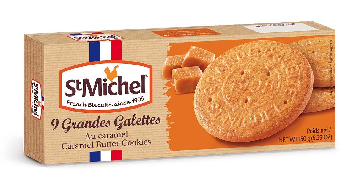 St Michel La Grande Galette Butter Cookies, Caramel, 5.29 Ounce