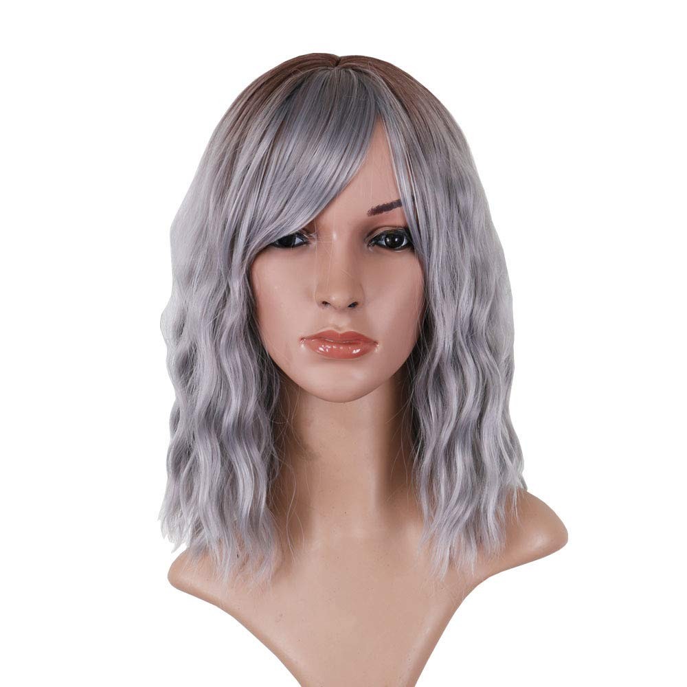 AneShe 14 Inch Women's Ombre Grey Dark Root Wig Short Curly Wavy Wigs With Bangs Shoulder Length Synthetic Cosplay Fashion Hairstyles Wigs for Girl (Ombre Grey)