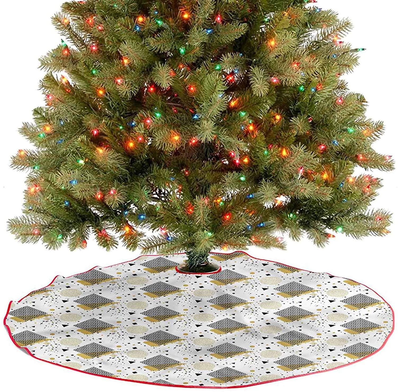 Large Christmas Tree Skirt Geometric Arrangement Fine Decorative Handicraft for Christmas Tree Decorations Holiday Party Diameter - 48 Inch