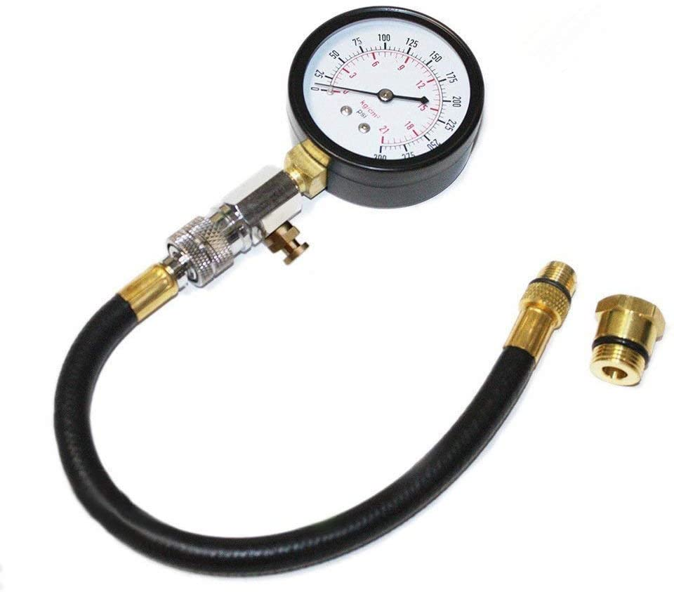 BANG4BUCK 0-300 Psi Cylinder Fuel Pressure Tester, 2-3/4 inch Dial Face with 11 Inch Hose 14mm/18mm Adapter Outlet for Cars ATVs Motocycles (0-300 psi Gauge Set)