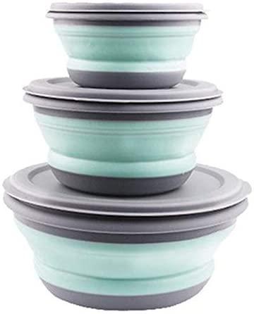 Fszhen-canh 3Pcs/Set Bowl Sets Silicone Folding Lunch Box Folding Bowl Portable Silicone Folding Bowl Foldable Salad Bowl with Lid (Color : Blue)