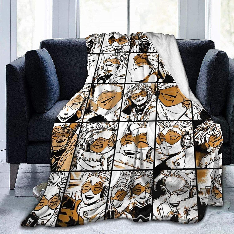 My Hero Academia Collage Anime Hawks - Manga Fleece Throw Blanket, Fuzzy Warm Throws for Winter Bedding, Couch and Plush House Warming Decor Gift Idea (M 60