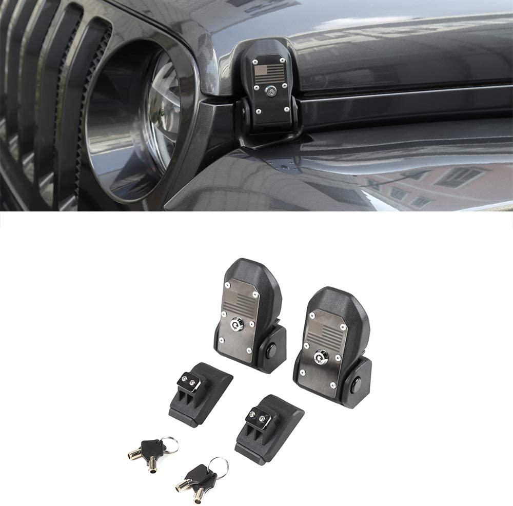 LZTQ Car Hood Latches Locking Hood Catch Kit for Jeep Wrangler JL 2018 2019 2020 Jeep Gladiator JT 2020 2021 Car Accessories Black