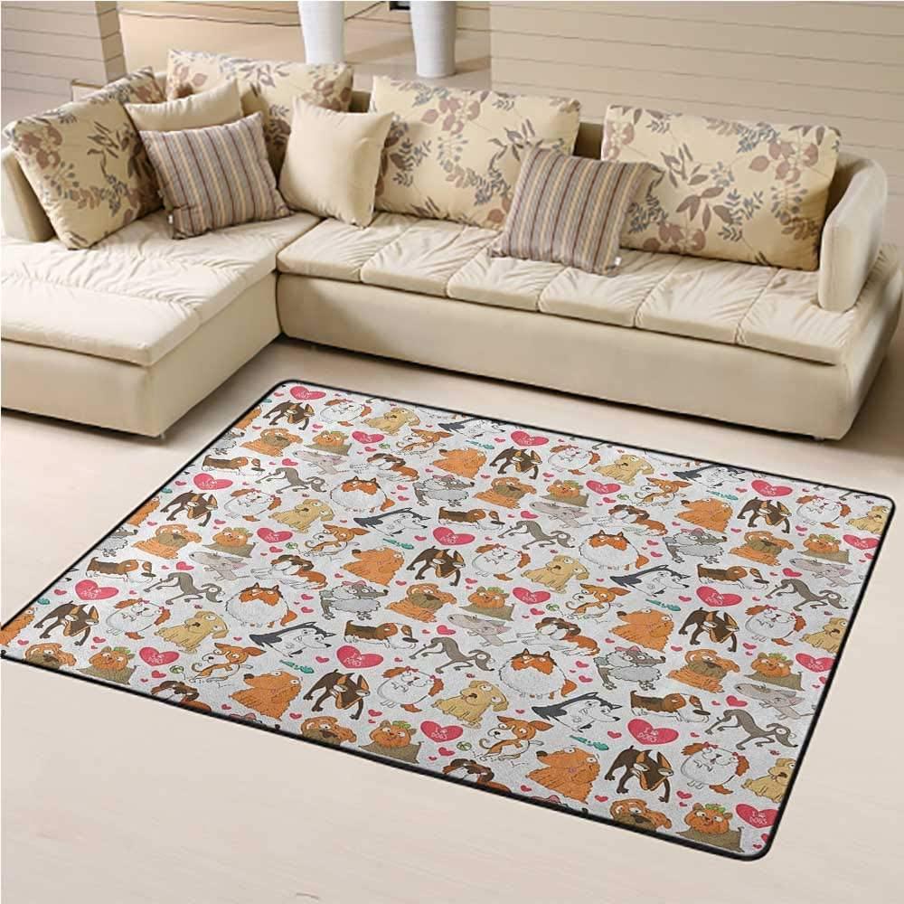 Carpet Dog Lover Soft Indoor Mat Decorative Carpet Cartoon Canines Bullterrier Doberman Husky Spaniel Love Theme Funny Characters 6 x 9 Ft Multicolor
