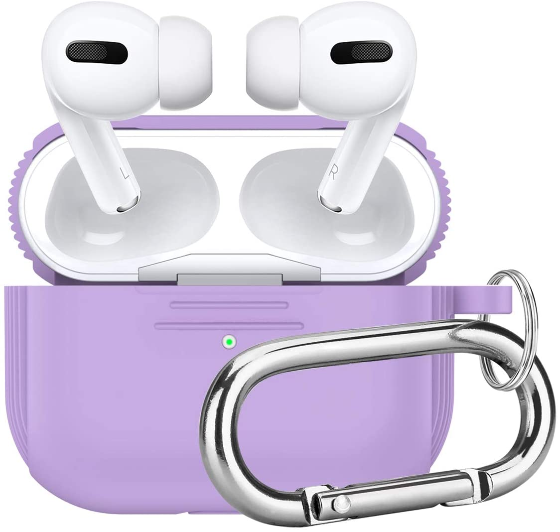 Camyse Airpods Pro Case Silicone Protective Cover with Keychain and Airpods Pro Accessories Compatible with Airpods 3 Pro Charging Case (Purple)
