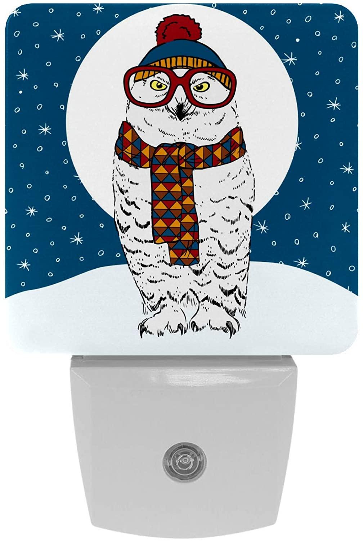 LED Night Light Lamp with Smart Sensor Dusk to Dawn Sensor, Plug in Christmas Owl Pattern Night Light for Hallway,Bedroom, Kids Room, Kitchen, Stairway,Bathroom