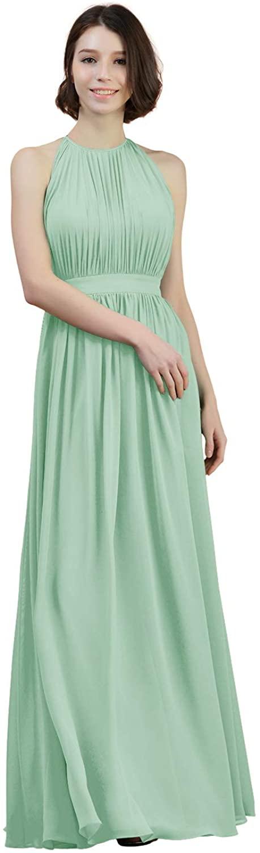 Alicepub Pleated Chiffon Long Bridesmaid Dresses for Women Formal Prom Party