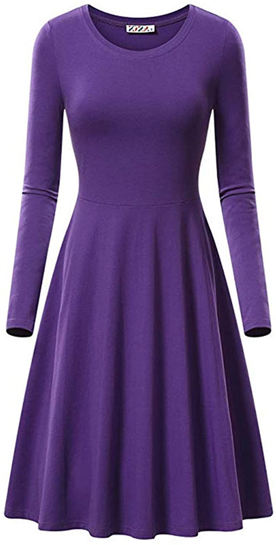 Soluo Women's Crewneck Long Sleeve Casual Swing Loose T-Shirt Dress A-line Tunic Top Blouse Shirts Dresses