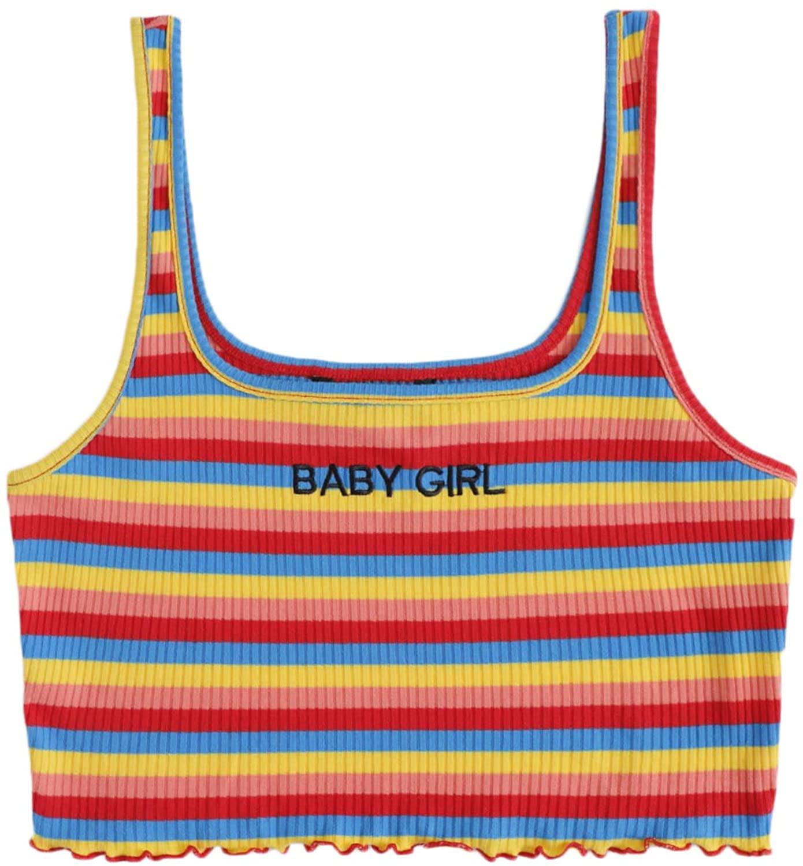 SweatyRocks Women's Casual Letter Striped Shirts Sleeveless Stretch Crop Tank Top