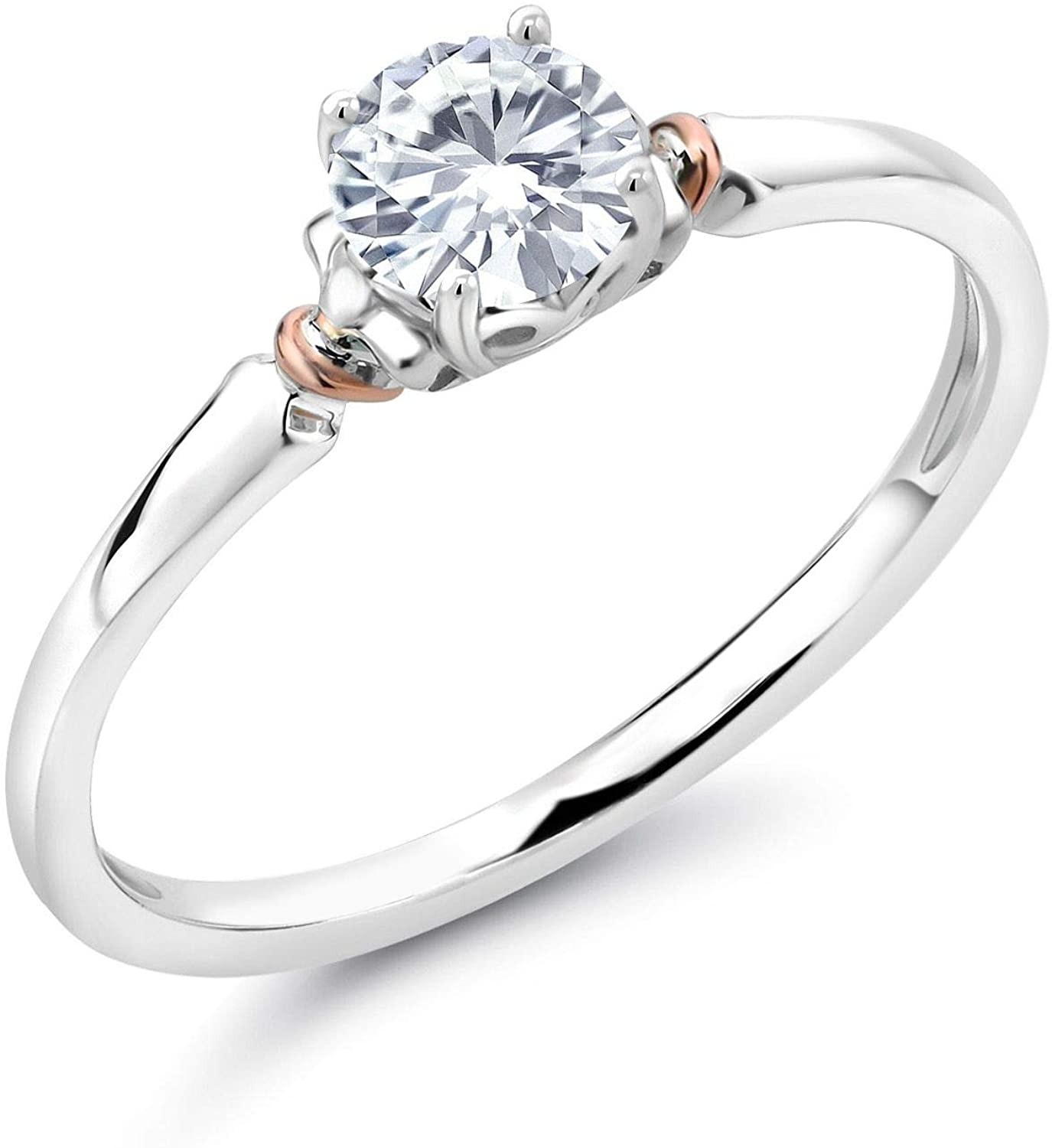 925 Sterling Silver and 10K Rose Gold Solitaire Engagement Ring Set Round Forever Brilliant Near Colorless (GHI) 0.50 ct (DEW) Created Moissanite from Charles & Colvard