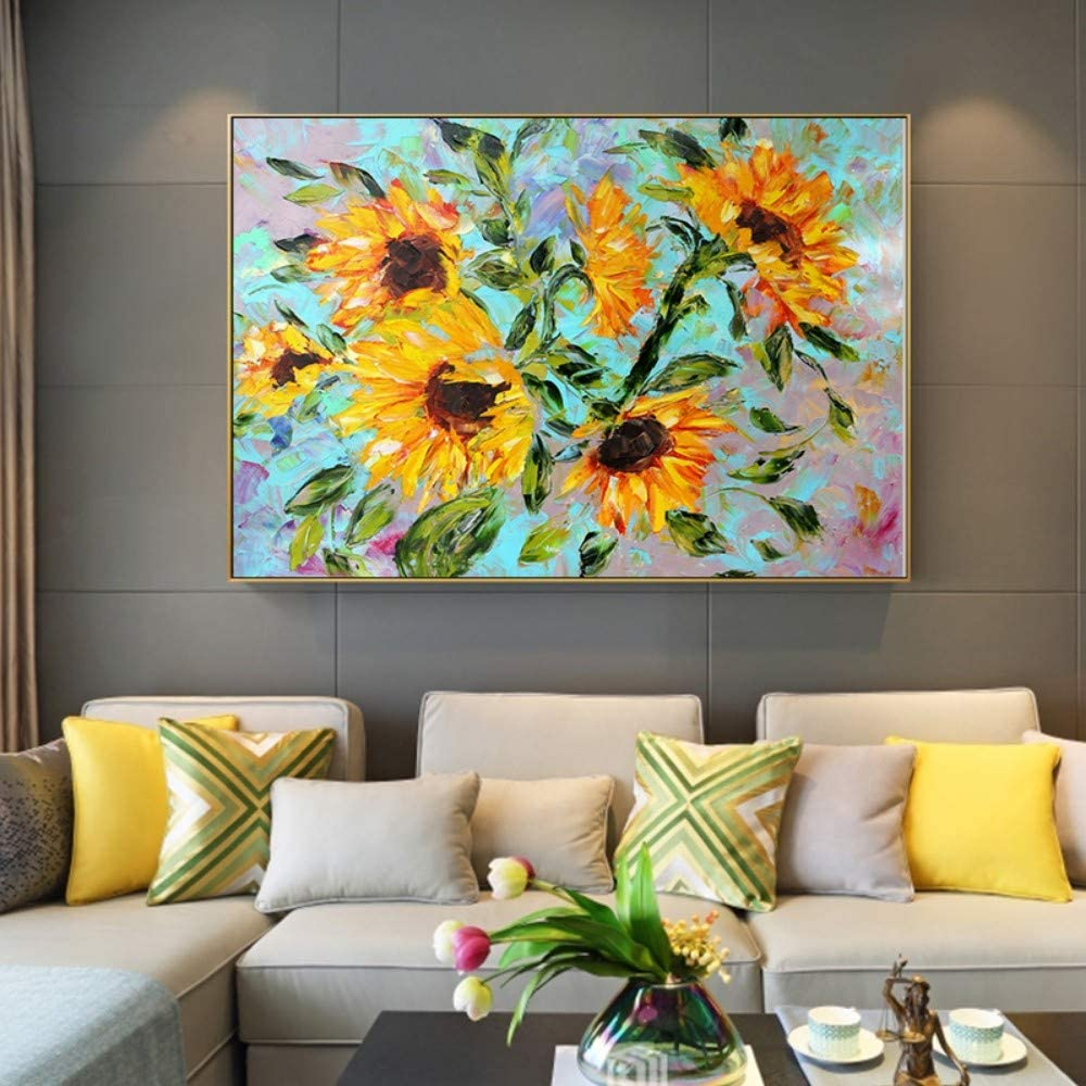 SUMIANYH 100% Hand-Painted Oil Paintings Pure Hand-Painted Oil Painting Sunflower Decorative Painting Xin Xing Heng Heng Version of The Restaurant Painting Chinese Modern Minimalist Mural,40×60Cm