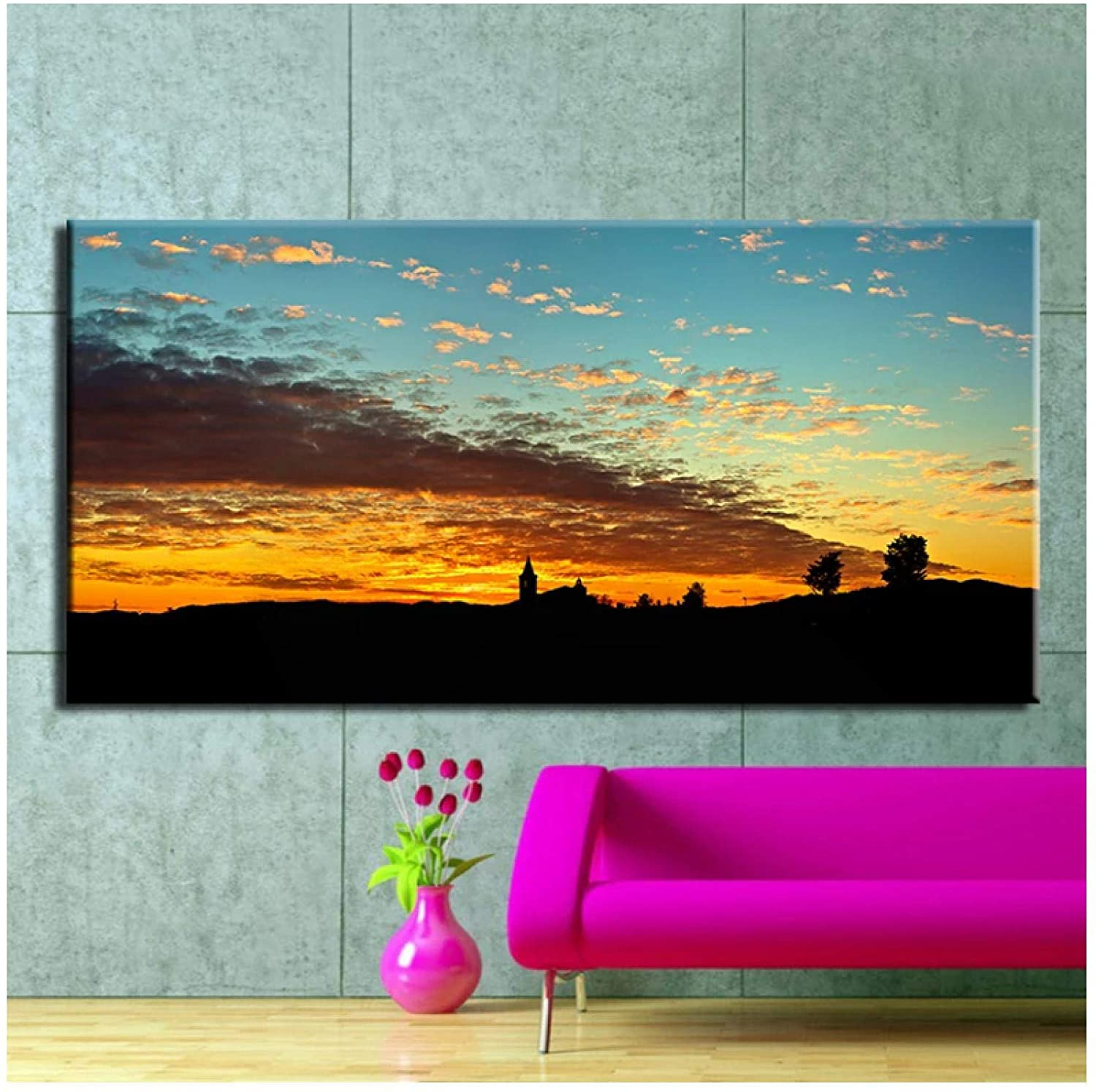 Wall Art ZXYFBH The Beautiful Landscape Oil Painting Print On Canvas Modern Wall Art Home Decor 11.8x15.7in(30x40cm) x1pcs No Frame