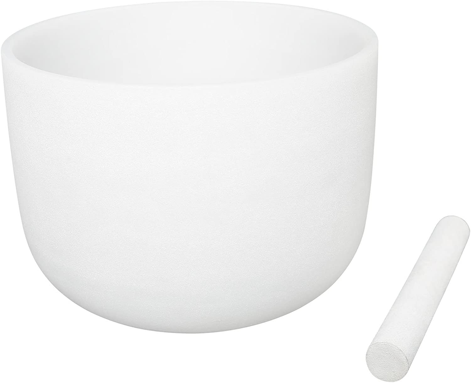 White Color Frosted Crystal Singing Bowl Perfect Pitch Note C 432Hz Root Chakra 8 inch Best and Highest Quality Sound & Material Suede Mallet Included