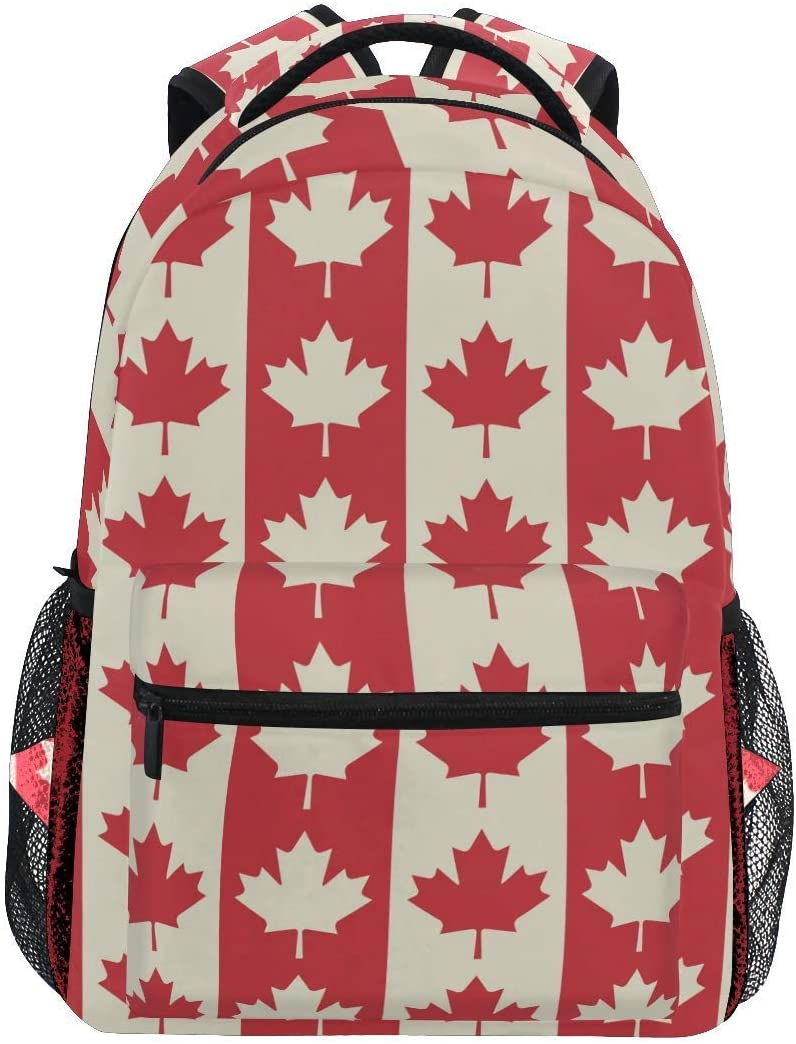 Pooizsdzzz Vintage Flag Backpacks Maple Leaves Laptop Book Bag Casual Extra Durable Backpack Lightweight Travel Sports Day Pack for Men Women