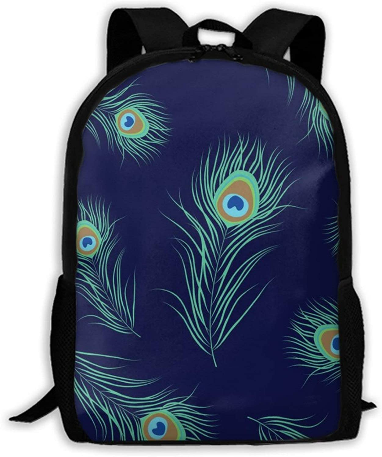 NiYoung 15 Inch Computer Everyday Backpacks with Pocket One Size Lightweight Strong 600-Denier Fabric (Peacock Feather)