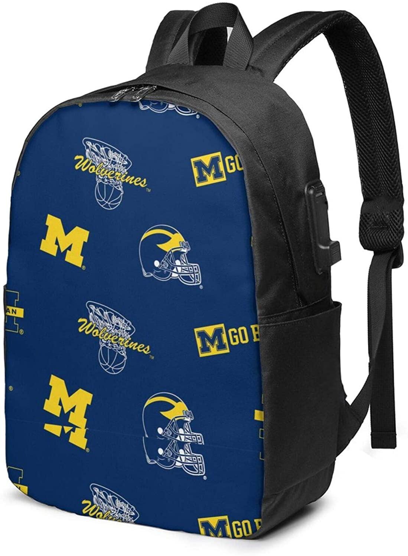 Corrine-S University of Michigan USB Backpack 17-Inch Laptop Backpack Adjustable Shoulder Strap Men and Women Business Travel Bag