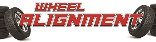 Wheel Alignment Vinyl Display Banner with Grommets, 2'hx6'w, Full Color