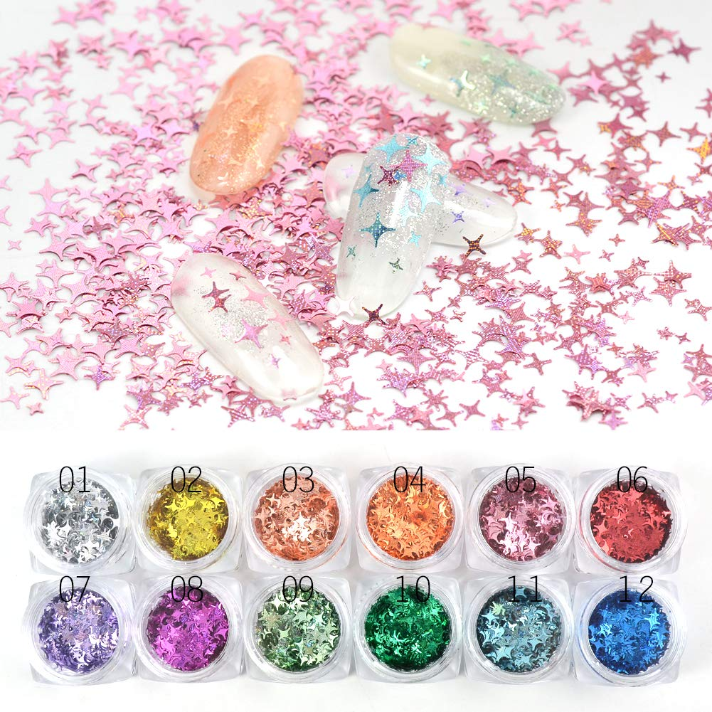 QIMYAR Cross Star Holographic Laser Nail Glitter Sequins Confetti Paillette 3D Nail Art Supplies Decoration Accessories Tools Four-Angle Star 12 Colors