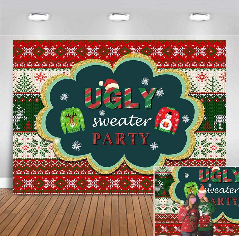 Elk Winter Tacky Ugly Sweater Party Photo Background for Family Photo Booth Christmas Children Birthday Party Vinyl Snow Holiday Xmas Baby Shower Banner 5x3ft Photography Backdrop Cake Smash