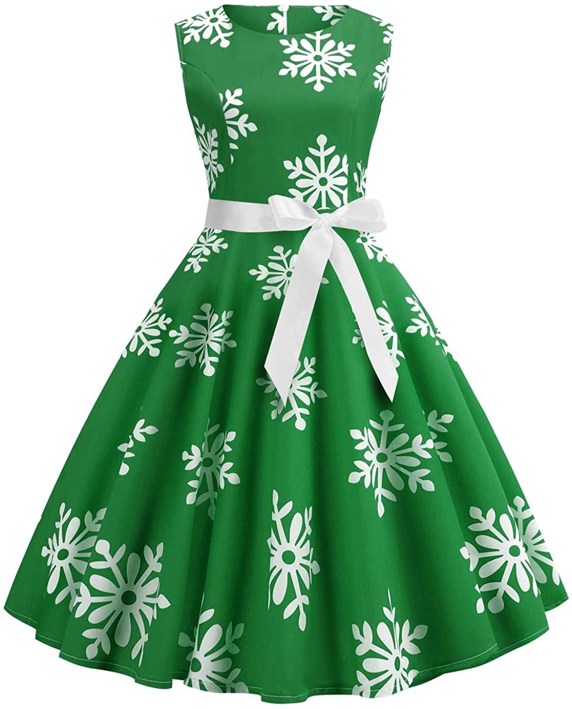 Women's Audrey Hepburn Rockabilly Vintage Dress 1950s Retro Cocktail Swing Party Dress