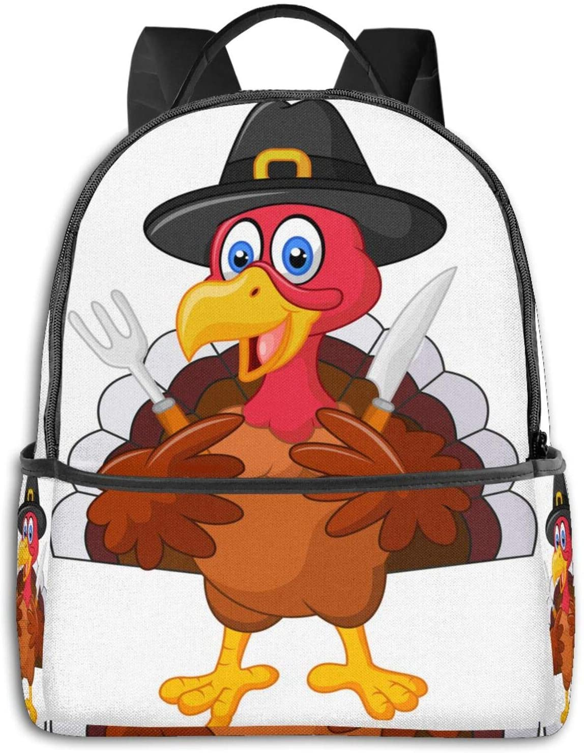 Thanksgiving-Turkey-Mascot Fashion Water Resistant College Backpack Casual Daypack for Teen Girl