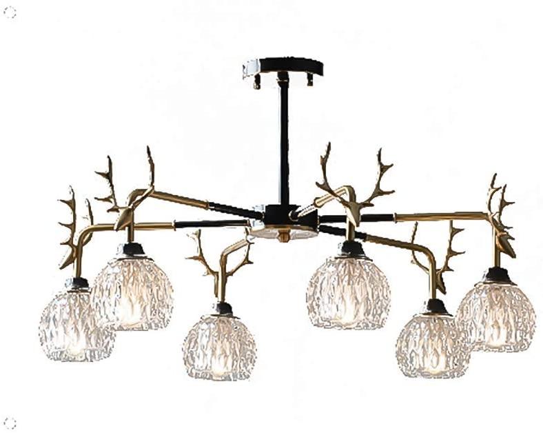 PLLP Antler Sputnik Chandelier 8 Lights,Crystal Shade Ceiling Light Fixtures Vintage Style Retro Brass Pendant Lighting for Living Dining Room Bedroom Bar Black and Copper 84.5X42Cm(33X17Inch),Black