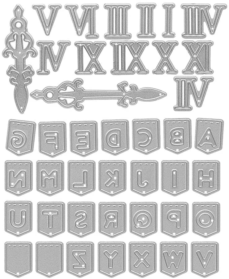 Metal 26 Alphabe Cutting Dies,Roman Numerals Die Cuts Embossing Stencils Template Mould for Card Scrapbooking and DIY Craft Album Paper Card Decor