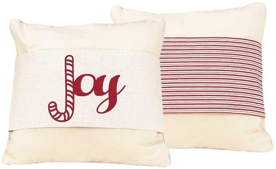 Dicksons Joy Candy Cane Striped 36 x 8 Cotton Reversible Christmas Throw Pillow Jacket