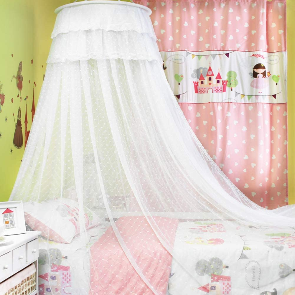 YZW Round Dome Bed Canopy Net,Lightweight Breathable End Compact Polyester Fabric Netting Mesh Mosquito Net Canopy for Home-White Queen