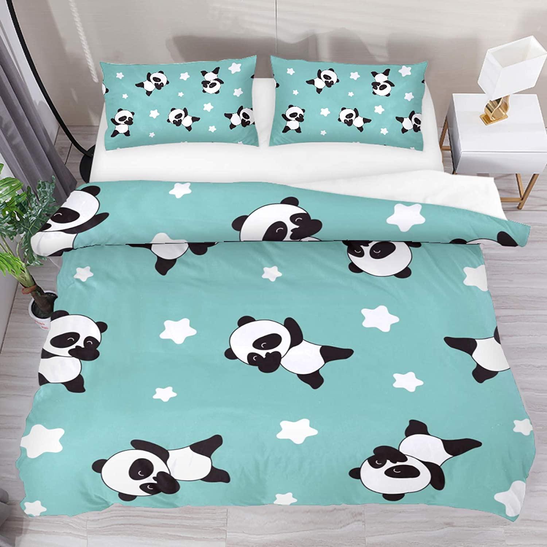 HEOEH Kawaii Cute Panda Star Pattern Bedding Set for Kids Teen Boys and Girls, Duvet Cover Set with 2 Pillow Shams(3pcs, Full) (No Comforter and Sheet)