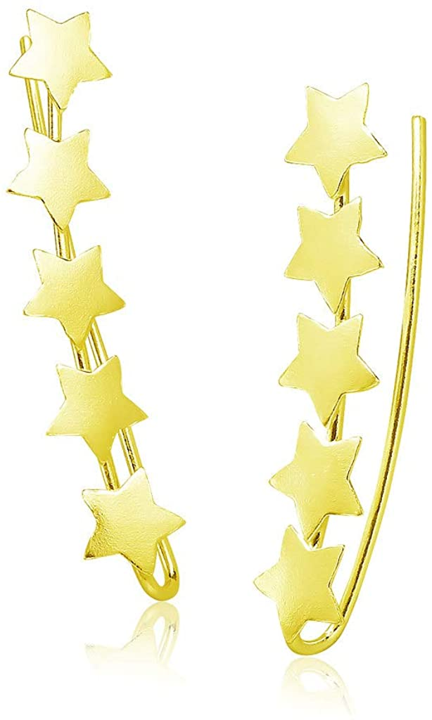 Big Apple Hoops - High Polish Sterling Silver Cute Star Line Ear Climber Pierced Stud Earrings Made from Real 925 Sterling Silver in 4 Color Silver, Gold, Rose or Black for Women, Teens, Men