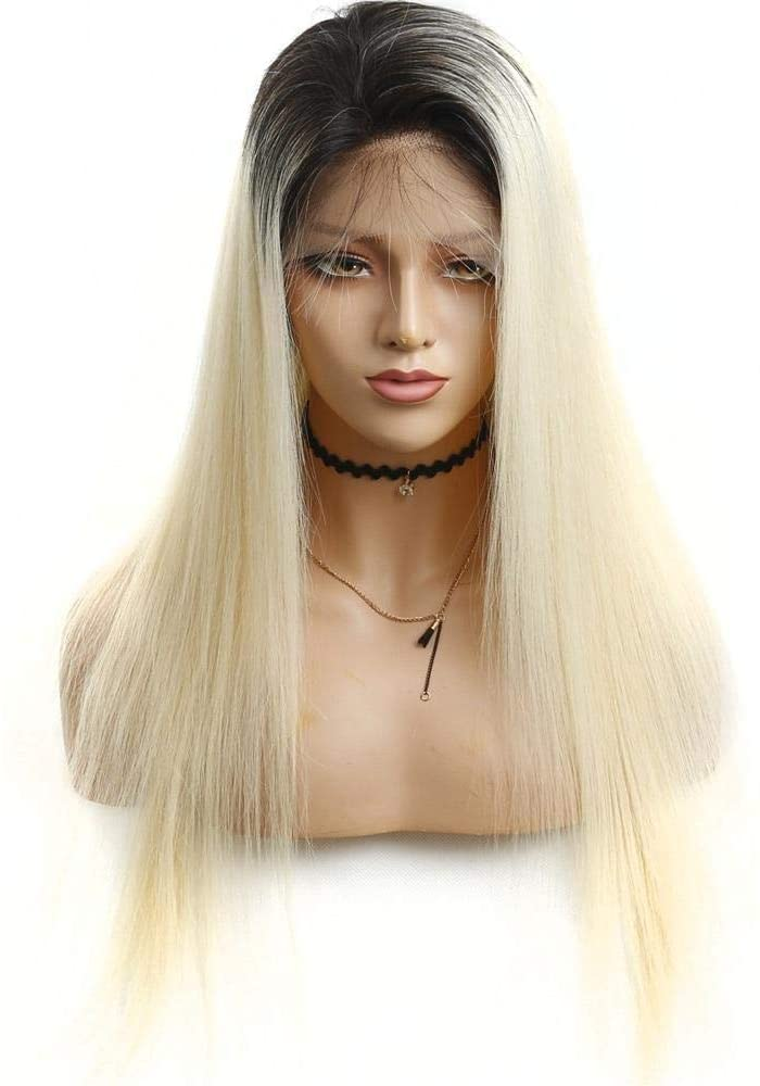 613 Blonde Lace Front Wig Pre Plucked with Baby Hair Straight Brazilian Remy Human Hair Wig Density 150%-10 Inch
