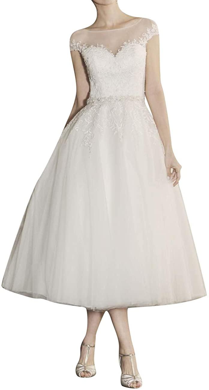 Wedding Dresses Bridal Dress Short Wedding Gowns for Bride Lace Beach Wedding Dress Tea Length