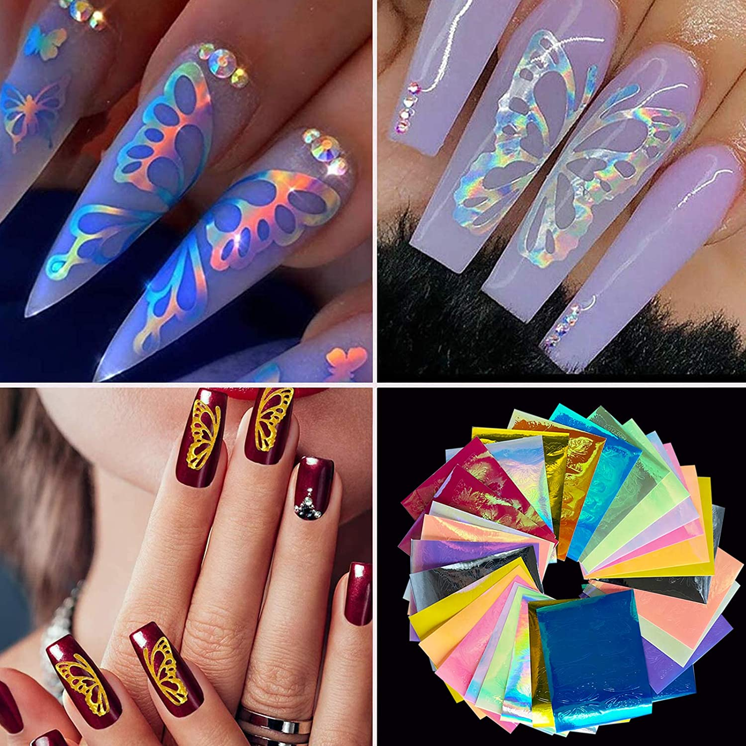 32PCS Butterfly Reflections Nail Stickers - Holographic Butterfly Nail Art Decals 3D Vinyls Nail Stencil for Nails Manicure Tape Adhesive Foils DIY Decoration