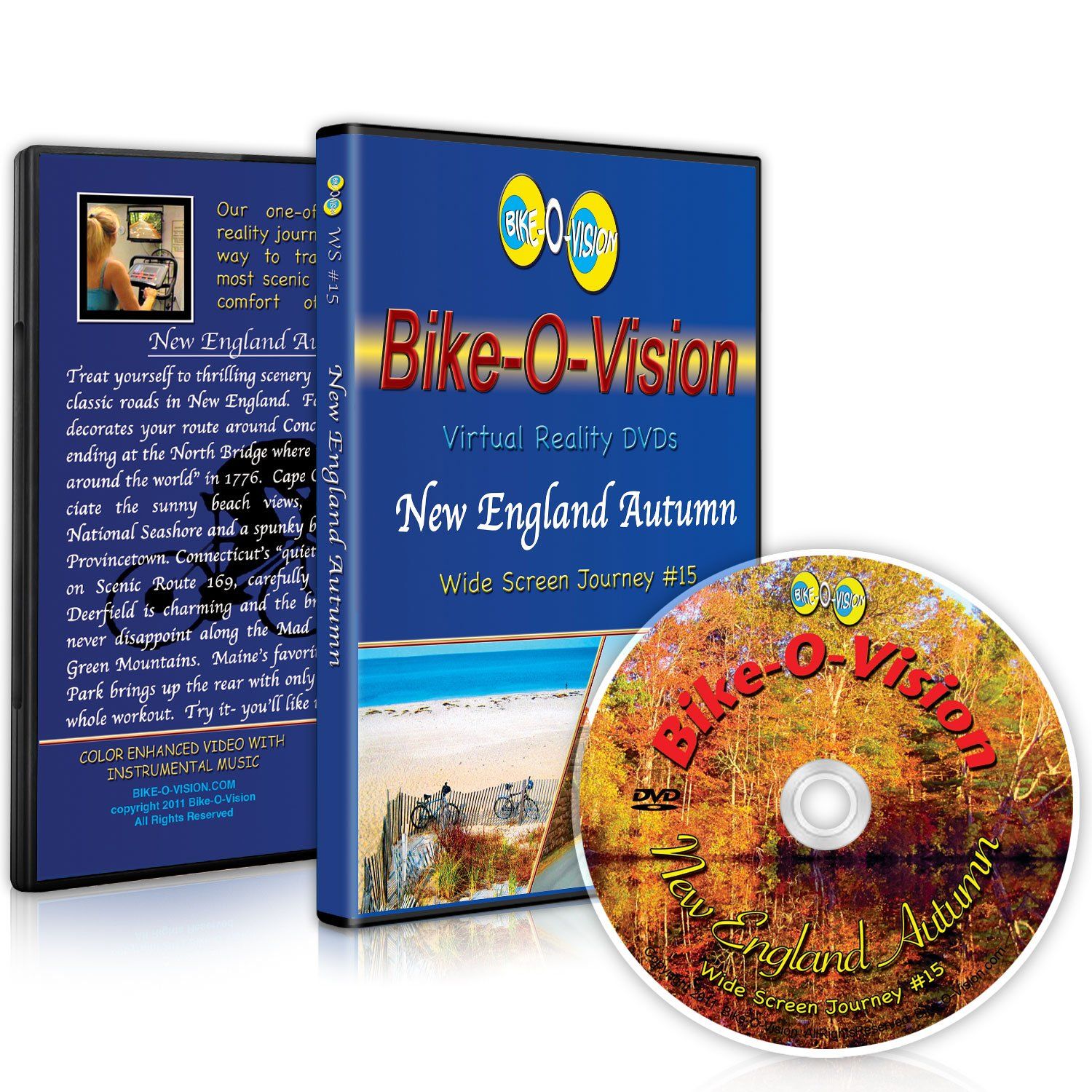 Bike-O-Vision - Virtual Cycling Adventure - New England Autumn - Perfect for Indoor Cycling and Treadmill Workouts - Cardio Fitness Scenery Video (Widescreen DVD #15)