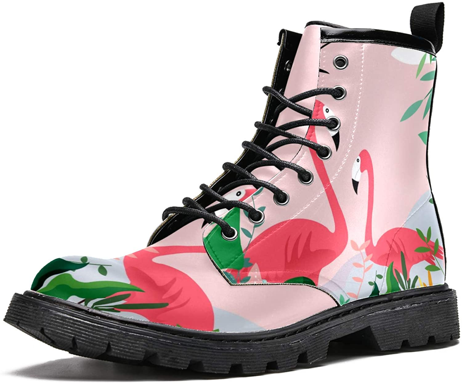 LORVIES Flamingo Birds and Swallow Men's High Top Boots Lace Up Casual Leather Ankle Shoes