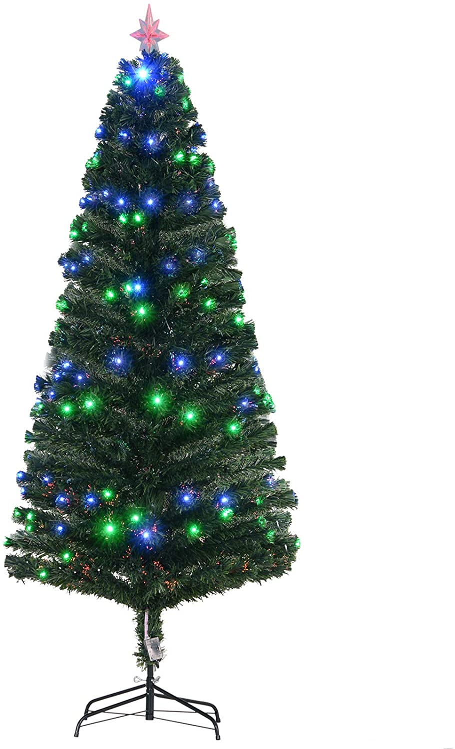 HOMCOM 7FT Tall Artificial Tree Multi-Colored Fiber Optic LED Pre-Lit Holiday Home Christmas Decoration, Green