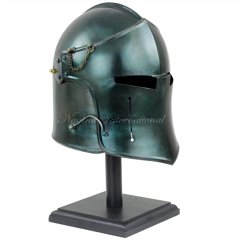 Nagina International Medieval Barbuta Visored Brushed Steel Knights Armory Templar Crusader's Helmet   Props & Costumes Helm for Larpers (Army Green) (𝗪𝗶𝘁𝗵 𝗦𝘁𝗮𝗻𝗱)