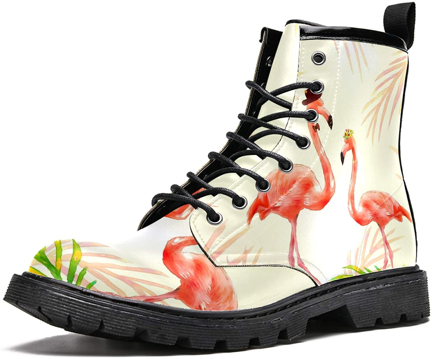 LORVIES Watercolor Flamingo Couple Men's High Top Boots Lace Up Casual Leather Ankle Shoes