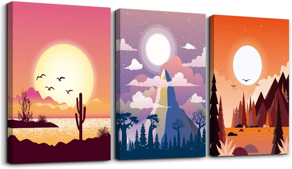 3 Pieces wall art for bedroom canvas prints artwork bathroom wall decor abstract scenery sunrise and sunset watercolor posters Landscape painting wall decorations office living room home decor picture