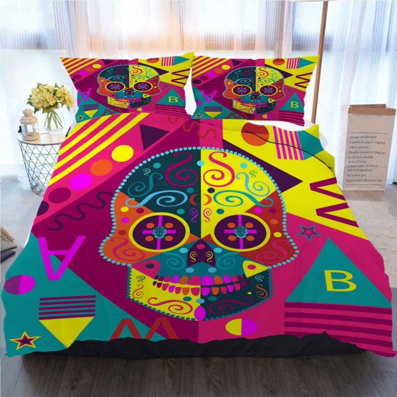 OTTOSUN Art Bedding 3 Piece Duvet Cover Sets Pop Art Skull Vector Pink Color Home Luxury Soft Duvet Comforter Cover,Full