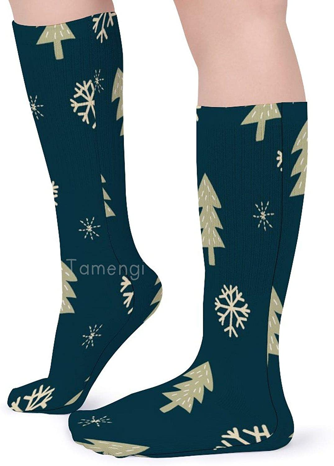 Classics Personalized Long Tube Stockings Merry Christmas Snowflake Crew Socks 15.7inch One Size Athletic Stockings for Men Women