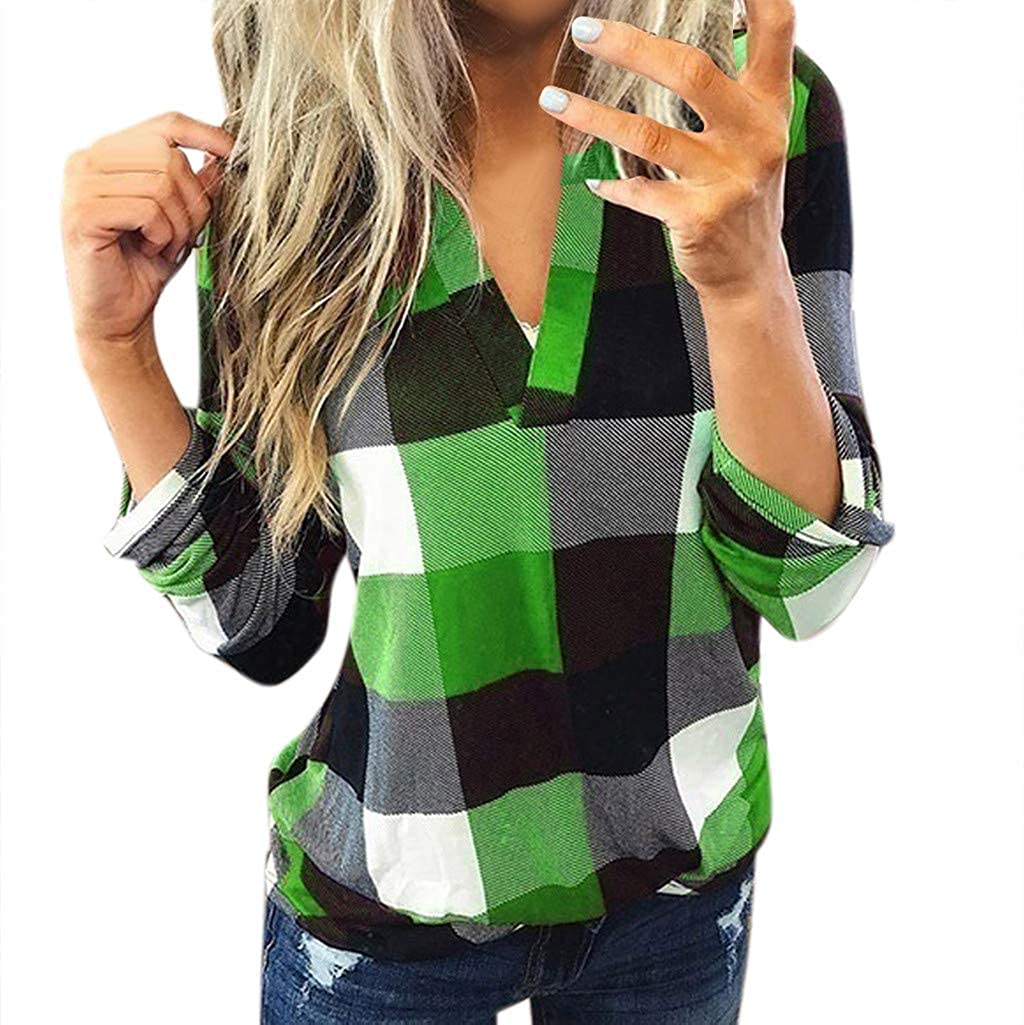 Hosamtel-Top Women Long Sleeve Flannel Plaid Shirt Pullover Sexy V Neck Tops Casual Loose Tunic T Shirts Blouses