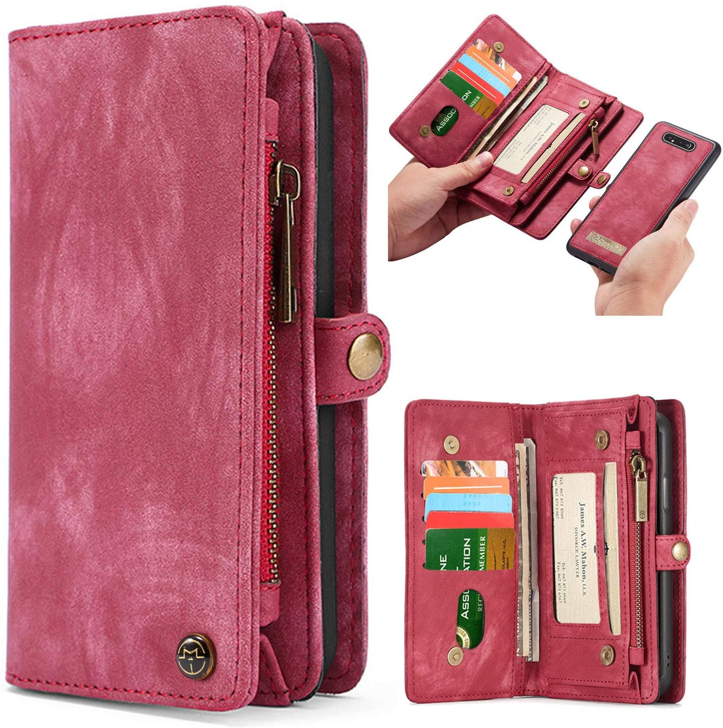 Simicoo Samsung A20 A30 Leather Wallet Zipper Purse Detachable Card Slots Holder Flip Case Magnetic Wrist Strap Handle Shockproof Cover Pocket Wallet Handbag for Samsung A20 A30 (Red, A20)