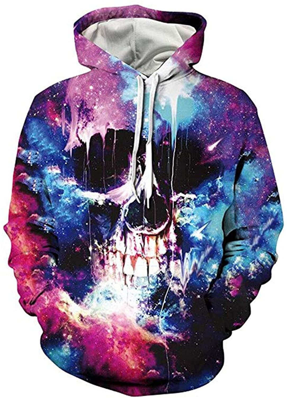 Mens Hoodies 3D Digital Print Pullover Unisex Hooded Sweatshirts with Pockets