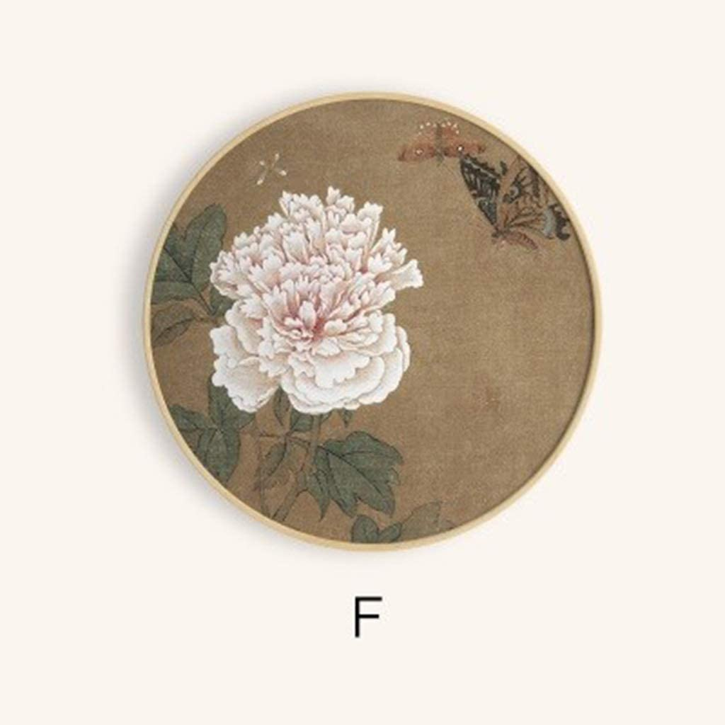 Round New Chinese Decorative Painting Restaurant Living Room Bedroom Paintings B&B Club Fresh Chinese Painting Lotus Triple (Size : 70x70cm, Type : F)